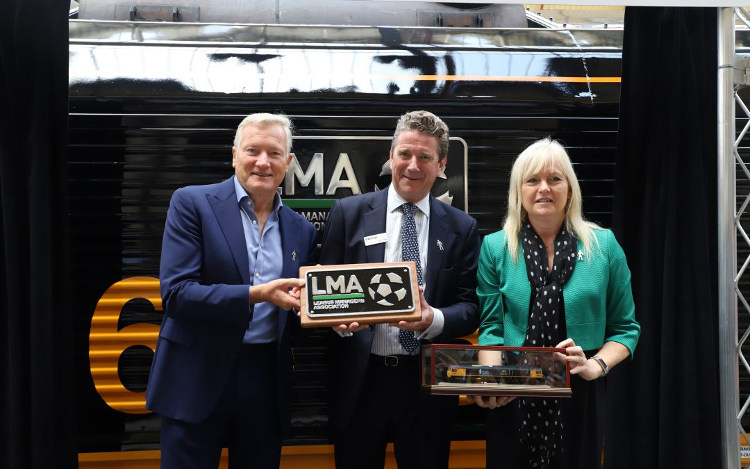 GB Railfreight rebrands locomotive to raise awareness of prostate cancer, in partnership with the League Managers Association and Prostate Cancer UK